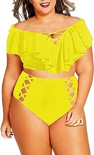 Best ruffle off the shoulder high waist bikini set Reviews