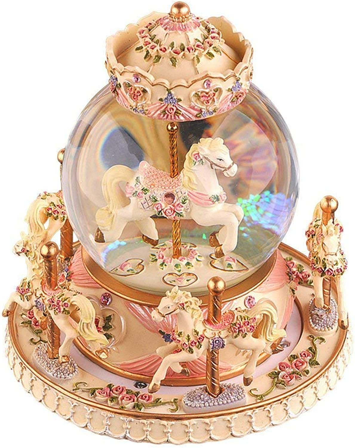 YOUDirect redate Music Box Carousel Crystal Ball Snow Globe with Castle in The Sky Tune and Light Up color Changing Perfect for Birthday Gift Valentine's Day (Warm Yellow)