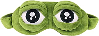 3D Cute Frog Sleep Eye Mask Green Cartoon Sad Frog Eye Mask Cover Sleeping Rest Travel Anime Funny Gift by Caromoriber House (No Ice Bag)