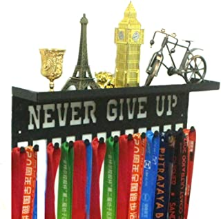 "URBN Metal Wall Mount `Never Give Up` Motivational Kids & Adults Sports Medal Hanger and Ribbon Display Holder Rack with 3"" Trophy Shelf and Easy Hanging Hooks"