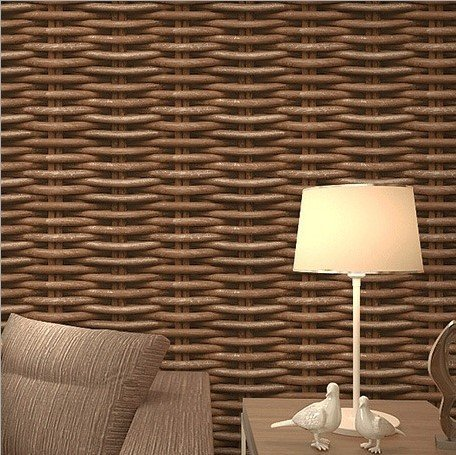 SDKKY Dreidimensionales weben rattan Zuckerrohr - wie Schlafzimmer Wohnzimmer Hintergrund Wände Tapeten, grau braun, 0,53 m * 10 m Dekorative Wandpapier
