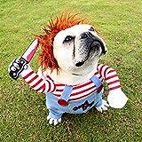 MiXXAR - Disfraz de muñeco mortal para perro, disfraz de Halloween, cosplay para perro, disfraz de perro, ropa de mascota, ropa divertida para fiesta de perro, disfraz de Navidad