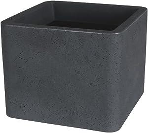 greemotion Pot de fleur carré Lea 29x29 cm- Jardinière noire avec effet granit - Pot de fleur extérieur- Pot de fleur décoration - Bac à fleur grande taille chic et robuste - Pot de plante design