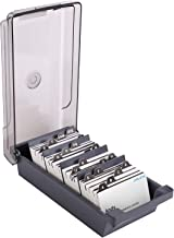 JARLINK Business Card Holder Name Card Organizer for Desk, Storage Box Organizer up to 500, Fit 2.2x3.6 inches Cards, 4 Divider Board and 20 A-Z Guides