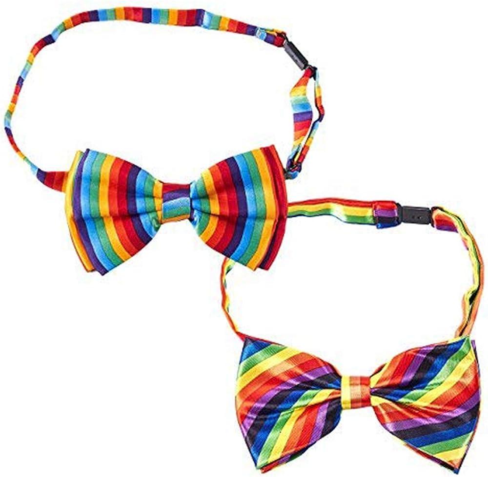 Gay Pride Rainbow Adjustable Bowtie (5 x 3 in, 2 Pack)