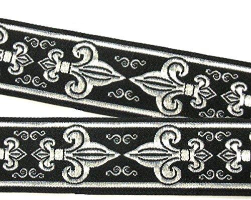 1A-Kurzwaren 10m Lilien Borte Fleur de Lis Webband 50mm breit Farbe: Schwarz-Silber 50063-swsi