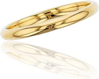 10K or 14K Yellow & White Gold 2mm Polished Plain Wedding Band, Size 4-12