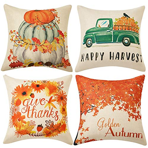 WLNUI Set of 4 Fall Pillow Covers 18x18 Inch Happy Harvest Give Thanks Golden Autum Theme Cotton Linen Throw Pillow Covers Cushion Cases for Sofa Couch Home Decor