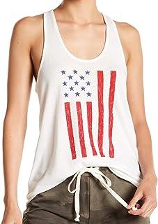 Alternative White Womens US Size XXL Flag-Print Scoop Neck Knit Top