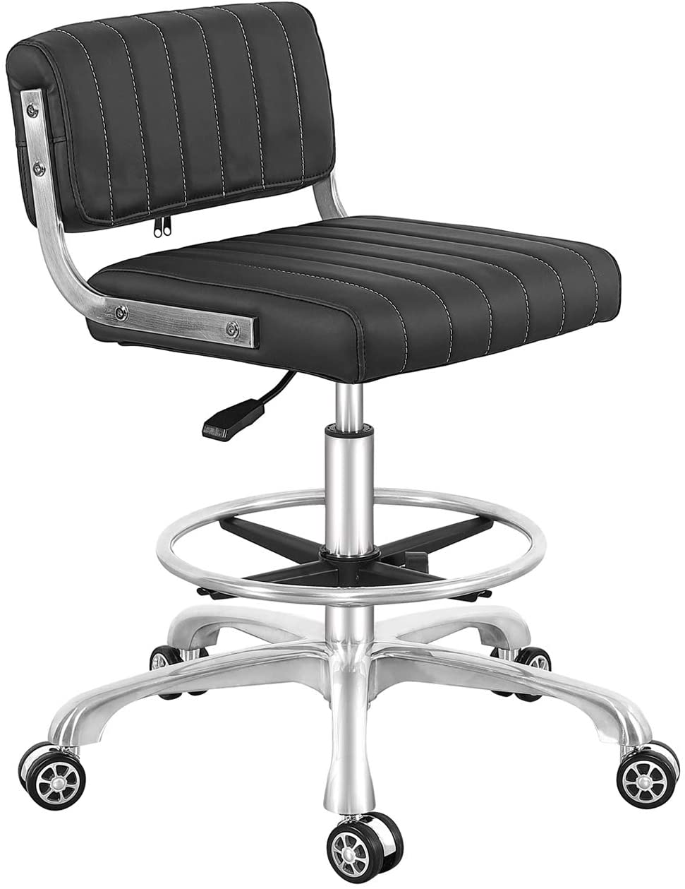 Rolling Swivel Drafting Chair Adjustable Heavy Duty (400lbs) Lumbar Support Task Chair for Home Desk Studio Design Lab (Black) (Square Cushion)