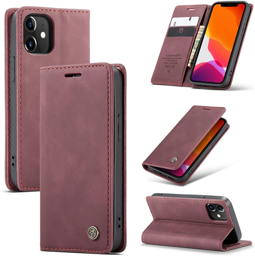 Wine red, Galaxy S20 FE Galaxy S20 FE Case,Galaxy S20 FE Classy Wallet Case,Folio Flip Case with Kickstand Magnetic Closure Cover for Samsung Galaxy S20 FE 5G 2020