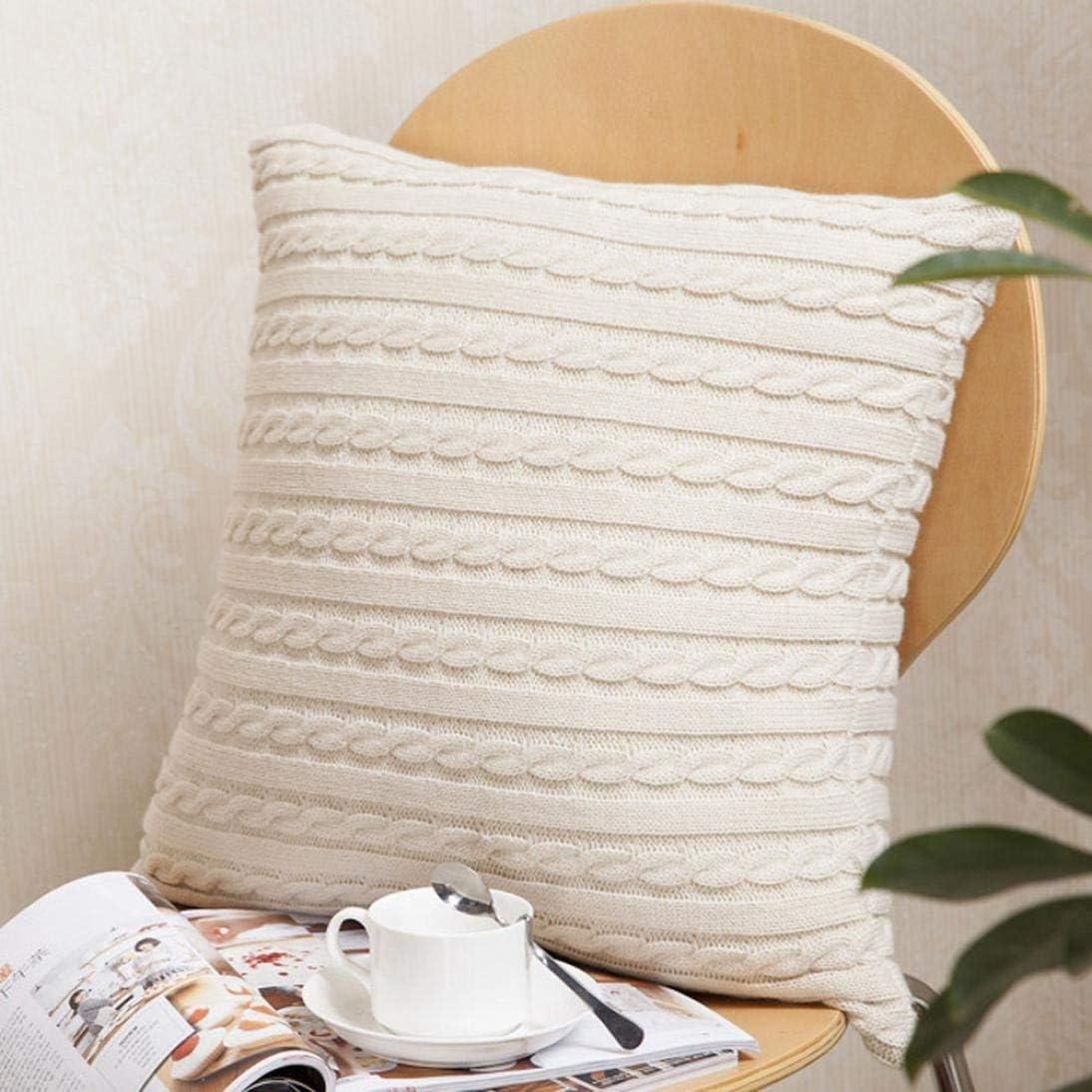 Giow Taie d'oreiller Couvre, taie d'oreiller décoratif à Tricoter Mode Throw taies d'oreiller Cafe Sofa Taie d'oreiller (Couleur: Blanc) Beige