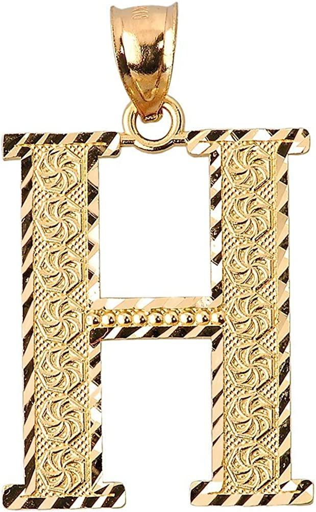 10k Yellow Gold Initial Letter H Charm Pendant, 0.7