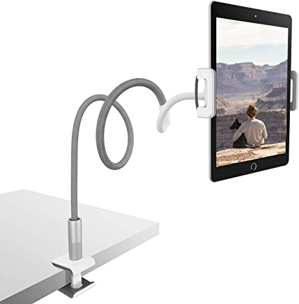 Lamicall Supporto Tablet, Collo Oca Supporto Regolabile : Universale Stand per 2018 Pad PRO 10.5, PRO 9.7, Pad Air Mini 2 3 4, Phone, Nintendo Switch, Samsung Tab, Altri Tablets - Grigio