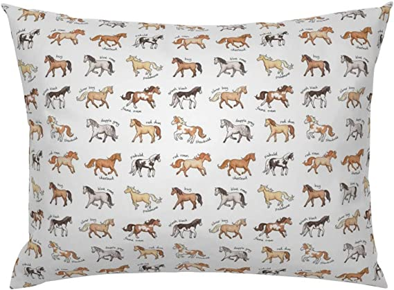 Amazon Com Roostery Pillow Sham Horses Equestrian Riding Show Animals Gallop Horse Pony Palomino Dapple Grey Animal Print 100 Cotton Sateen 26in X 20in Knife Edge Sham Home Kitchen
