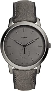 Fossil Men's The The Minimalist - Mono Stainless Steel Analog-Quartz Watch with Leather Calfskin Strap, Grey, 22 (Model: FS5445
