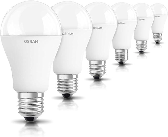 TALLA 6 unidades. OSRAM 6-pack de bombilla LED de 14.5 W - Equivalente a 100 W, luz blanca cálida, E27 de rosca de tamaño grande, acabado mate, 1521 lumens,