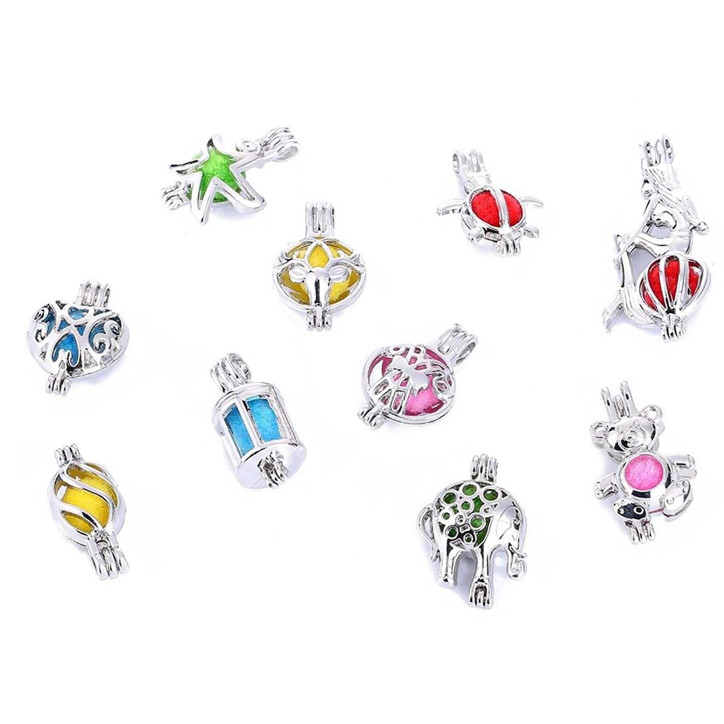 9PCS White Gold Plated Pearl Bead Cage Locket Pendants for Jewelry Making /Essential Oil Scent Diffuser Locket Pendants(Random delivery)