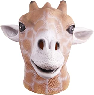 molezu Giraffe Head Mask, Halloween Costume Party Latex Animal Head Mask for Adult Gray