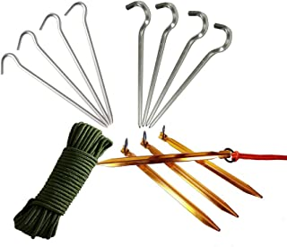 CRH600 New Idea Aluminum Outdoors Tent Stakes Pegs Set, with Rope Ratchet, Easy Cord Tightener