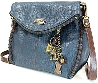 Chala Charming Crossbody Bag - Flap Top and Metal Key Charm in Navy Blue, Cross-Body or Shoulder Purse