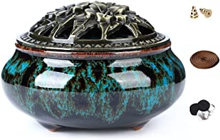LAMDAWN Ceramic Incense Burner with Incense Stick Holder + Insulation use for Stick or Coil Incense, Sage Cones and Franki...