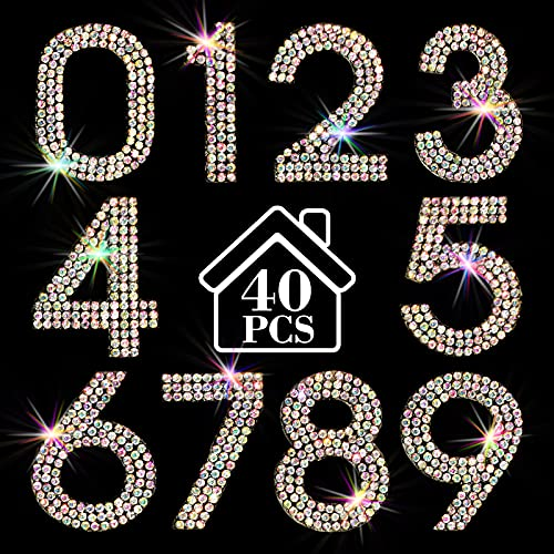 Locacrystal 40Pcs Bling Rhinestone Numbers, Self-adhesive Small Mailbox Number Stickers for Room, Door, Cars, 0-9 Crystal Numbers (Crystal AB,1.57inch)