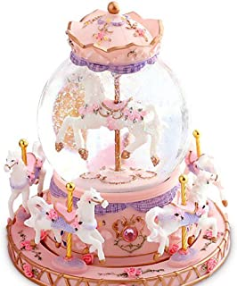 WOOYAN Carousel Music Box Crystal Ball - Rotating Music Box Luxury Carousel Glass Ball Snow Globe Doll Miniature Dollhouse Toy with Castle in The Sky Tune Perfect Birthday (Pink,6-Horse)