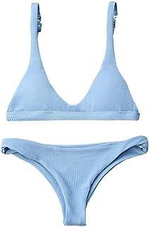 8c33924ddbd ZAFUL Women Padded Scoop Neck 2 Pieces Push Up Swimsuit Revealing Thong  Bikinis V Bottom Style