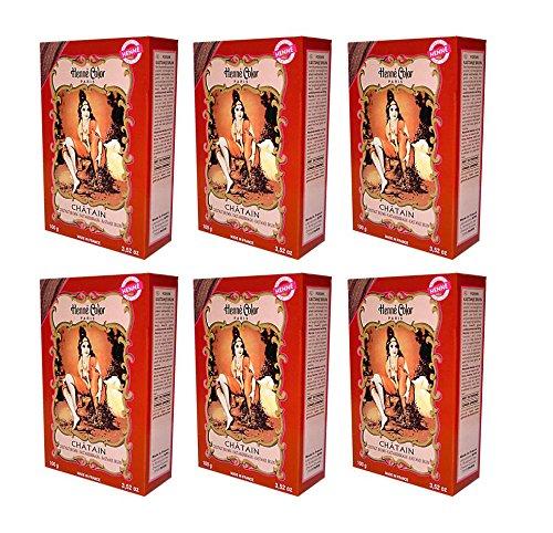 6 X 100g Henna Color Naturhaarfärbemittel Pulver Farbe Öko Kastanienbraun - 6Stück