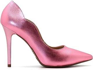 Scarpin Royalz Curvas Metalizado Salto Alto Fino Rosa Bebê
