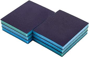 Cyful 220# Grit Blue Sponge Emery Cloth Sandpaper Blocks Buffing Diamond Polishing Pads Hand Sanding Tool-6pcs