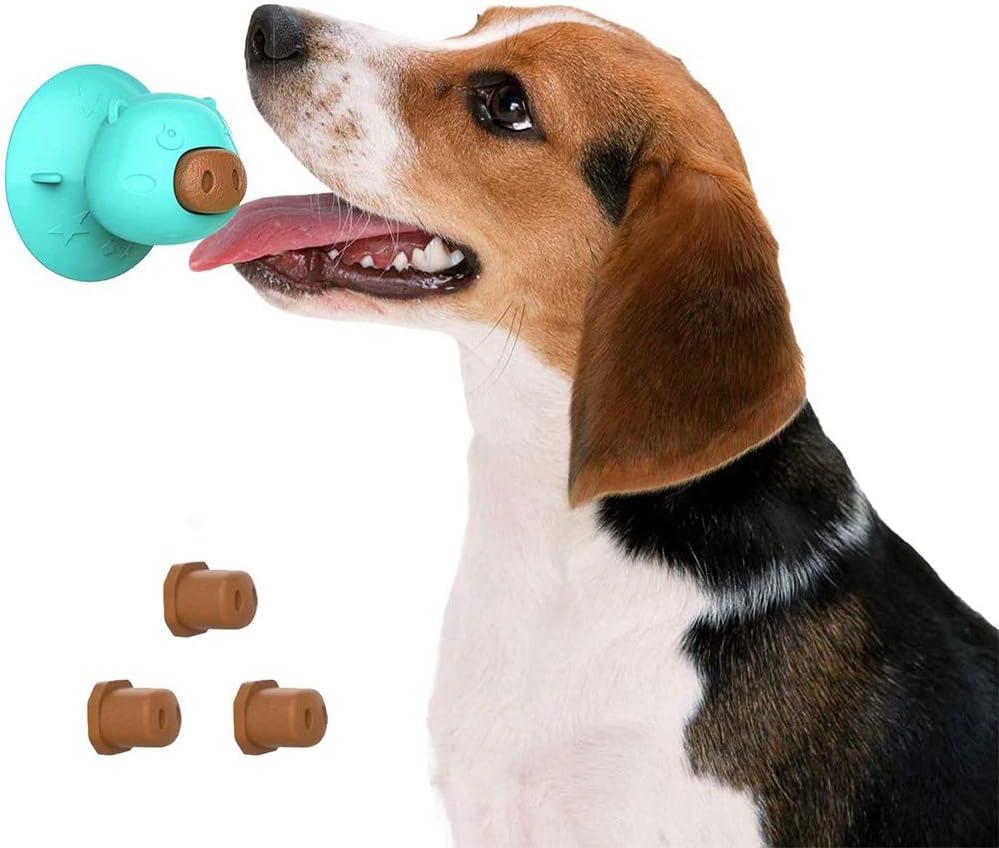 Dog Alfombrilla de Alimentación, Almohadilla para Lamer Perro, Almohadilla para Lamer, Alfombra de Silicona Baño Perros, con 3 Galletas Nariz Cerdo, para el Aseo Mascotas y el Entrenamiento Perros