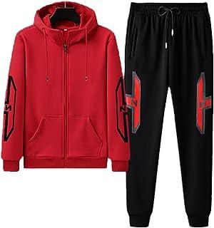 Men's sports suit full zipper sportswear jogging sportswear men's 2-piece suit, Mens Tracksuit Set Fleece Hoodie Top Botto...