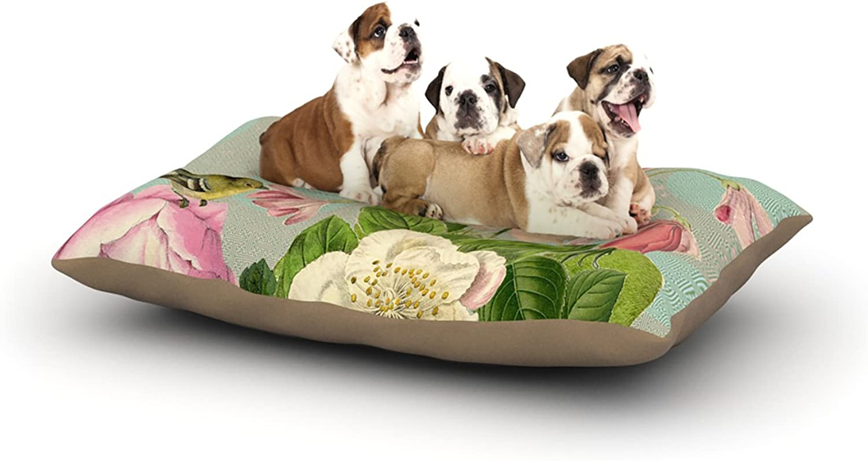 Kess InHouse Suzanne Carter Vintage Garden Cush  Flowers Dog Bed, 30 by 40Inch