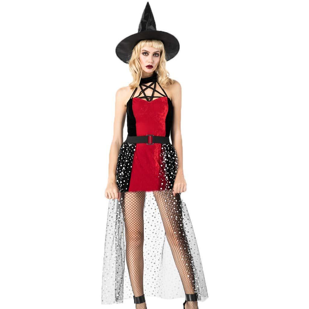 Javpoo - Disfraz de Bruja mágica de Halloween para Mujer, 3 Piezas ...