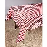 Askol DecoMeister Wachstuch Tischdecke Tischbelag Tischabdeckung Tischtuch Tischfolie Transparent Tischplattenschutz Vinyl-Tischdecke Küche abwaschbar 140x11 cm Rot kariert