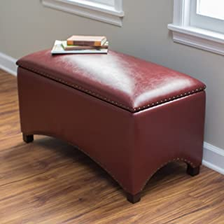 Premium Nailhead Storage Bench - Modern Leather Window Seating Organizer Home Furniture Living Room Bedroom Entryway Indoor Flip Top (Deep Red)