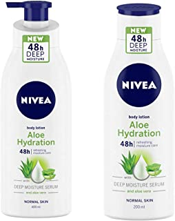 NIVEA Aloe Hydration Body Lotion, 400ml, with deep moisture serum and aloe vera for normal skin & Aloe Hydration Body Lotion, 200ml, with deep moisture serum and aloe vera for normal skin Combo