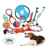 Juguetes de Cuerda para Perros 10 Piezas de Algodón Cuerda Juguete para Cachorros Incluyendo Pelota de Cuerda, Frisbees y Anillo de Goma Durable Juguetes para Morder para Pequeño Mediano y Grande