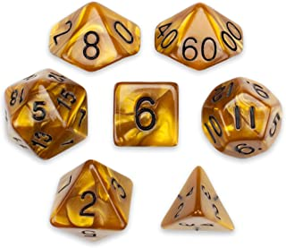 7 Die Polyhedral Dice Set - Mountainheart (Bronze Pearl) with Velvet Pouch by Wiz Dice