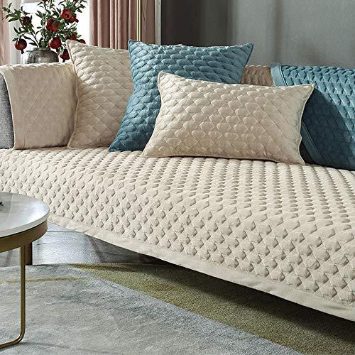 HXTSWGS Cojín de Felpa para sofá, cojín Acolchado de Invierno, Funda de sofá de Tela Antideslizante, Beige 1_70 * 70cm