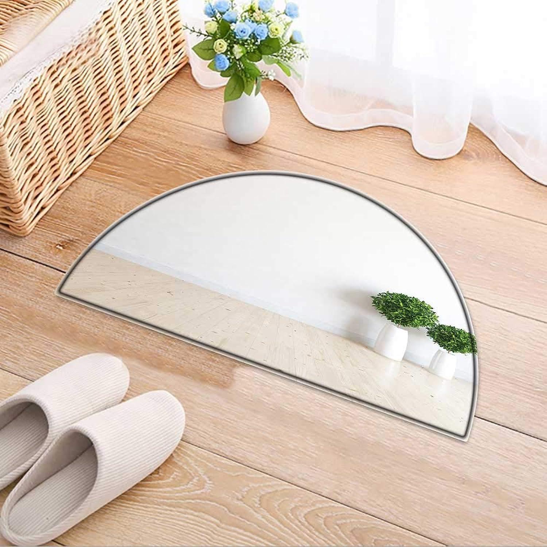 Semicircle Area Rug Carpet White Empty Interior d Door mat Indoors Bathroom Mats Non Slip W47 x H32 INCH
