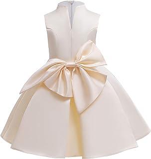 Girls Dress High-collar V-neck Solid Color Dress Big Bow Children's Clothing