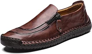 LIEBE721 Chaussures en Cuir pour Hommes Fermeture à glissière Casual Bateau Sneaker Non-Slip Durable Respirant Mocassins