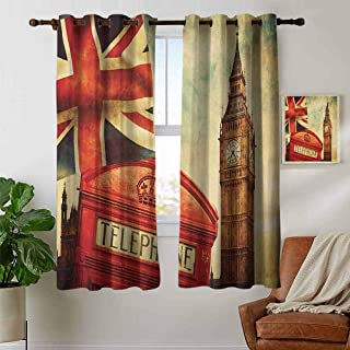 petpany Grommet Curtains London,Vintage Style Symbols of London with National Flag UK Great Britain Old Clock Tower, Multicolor,Blackout Draperies for Bedroom Window 42