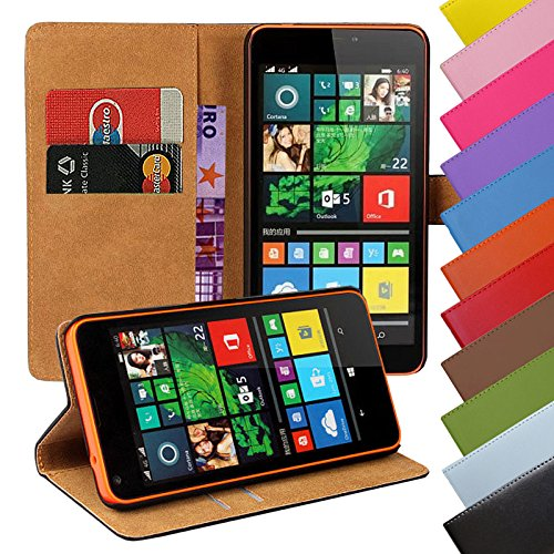 Eximmobile - Book Case Handyhülle für Microsoft Lumia 532 mit Kartenfächer in Schwarz | Schutzhülle aus Kunstleder | Handytasche als Flip Case Cover | Handy Tasche | Etui Hülle Kunstledertasche