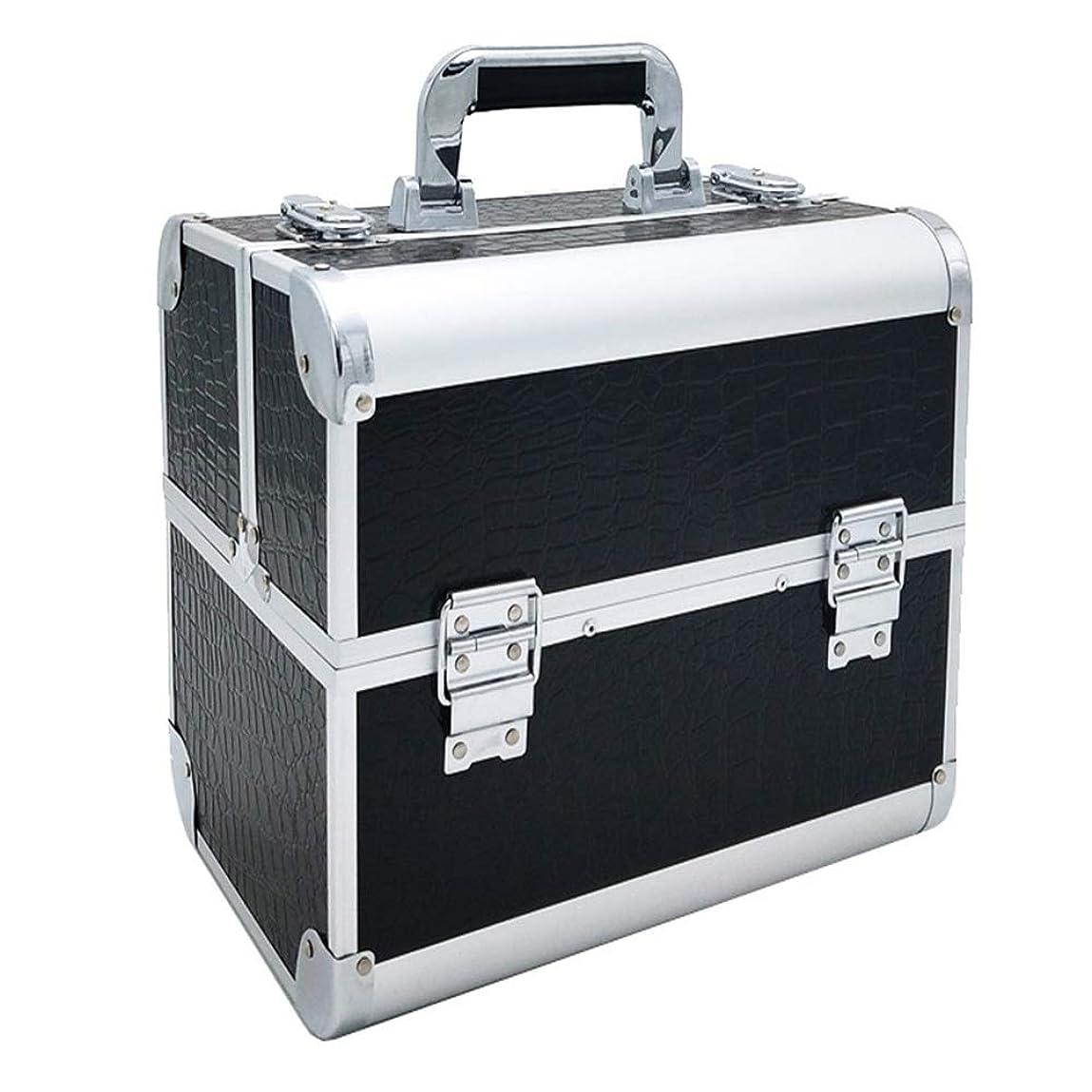 コンプリート織機小道特大スペース収納ビューティーボックス 調節可能なディバイダーが付いている構造の電車箱の専門の化粧品カセット4つの皿および2つのロック黒、ピンク任意。 化粧品化粧台