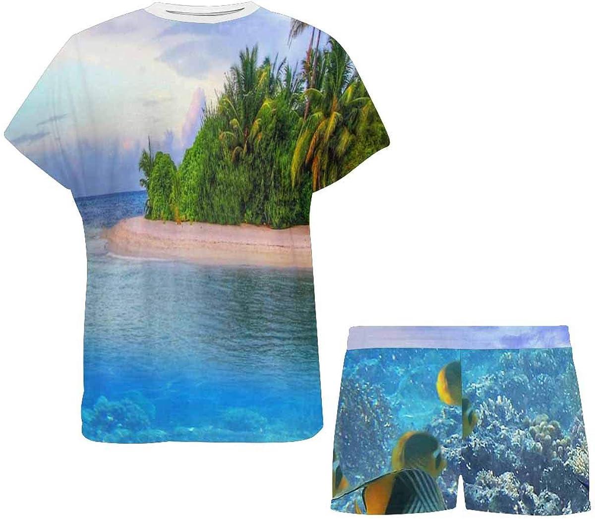 INTERESTPRINT Marine Life at Tropical Island Women Sleepwear Short Sleeves Pajama Sets