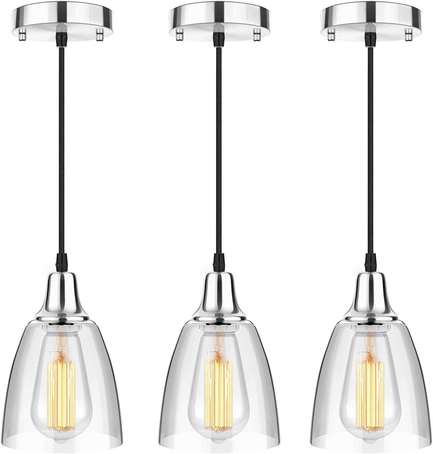 3-Pack Glass Pendant Selling and selling Max 82% OFF Lighting Kitchen Island Mini Hanging Light